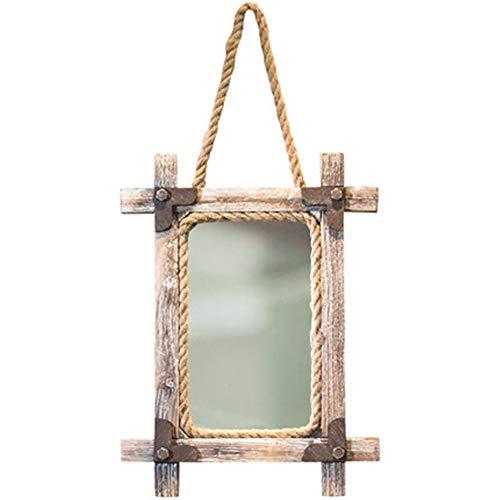 NBRTT Perfekte Rechteck Seil Spiegel für Wand, rechteckige Holzrahmen Hanfseil, einzigartige Land Dekor, Wandbehang dekorative Make-up Wohnzimmer Schlafzimmer Korridor