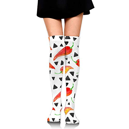 Chili Peppers with Triangles Compression Socken Foot Long Stockings Knee High Socken for Men Women Supports Sport Running Cycling Football Slim Leg Travel Medical Nursing