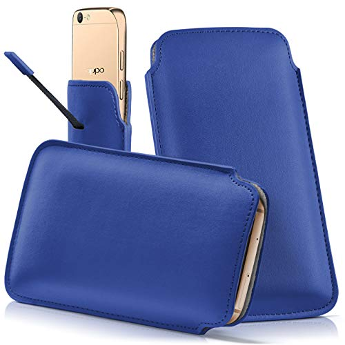moex Oppo F1 Plus | Hülle Blau Sleeve Slide Cover Ultra-Slim Schutzhülle Dünn Handyhülle für Oppo F1 Plus Case Full Body Handytasche Kunst-Leder Tasche