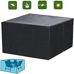Diossad Cubierta de Protección para Muebles de Jardín Impermeable para Cubierta protectora de Mesas Negro 123 x 123 x 74cm