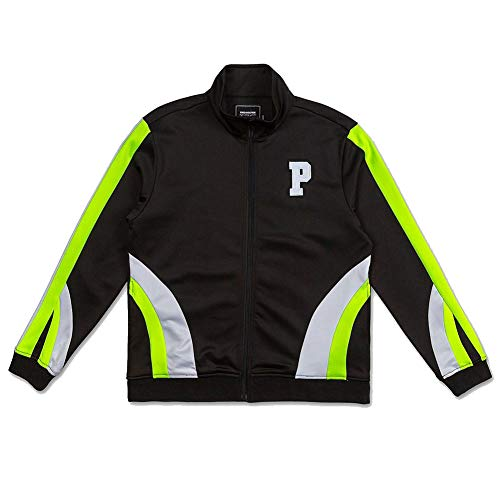 Pink Dolphin Men's Bold Track Zip-Up Jacket Black Neon Green M Pink Dolphin-fall