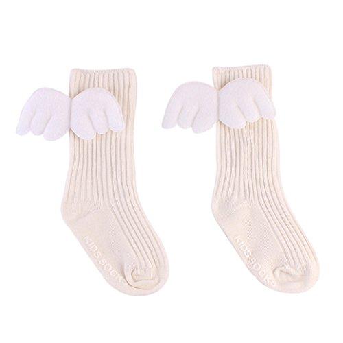 beiguoxia Baby Mädchen Baumwoll Rüschen Soft Knie High Bein Wärmer Cute Angel Wings Socken -