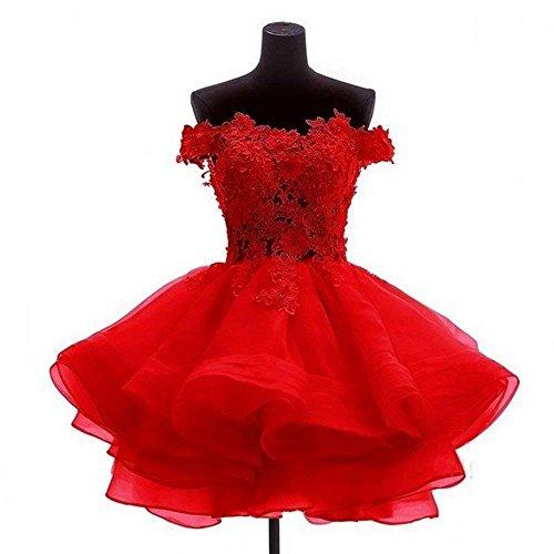 Carnivalprom Damen Spitze Applique Organza Ballkleid Abendkleider Knielang Cocktailkleider(Rot,38)