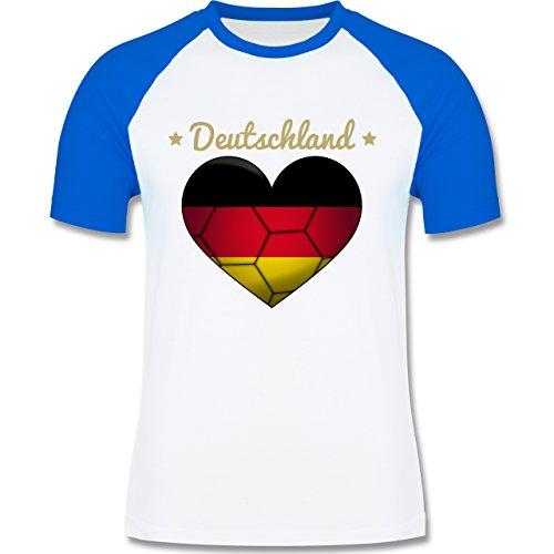 Handball - Handballherz Deutschland - zweifarbiges Baseballshirt für Männer Weiß/Royalblau