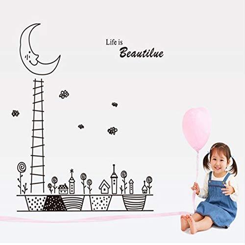 Chellonm Cartoon Handtuch Moon City Wandaufkleber Für Kinderzimmer Baby Kinderzimmer Kindergarten Dekoration An Der Wand Wohnzimmer Schlafzimmer