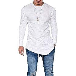 Hombres De Manga Larga Hipster Hip Hop Swag Dobladillo Tamaños Cómodos Curvo T Shirt Otoño Invierno Moda Slim Fit Cuello Redondo Camisa Tops Blusa Ropa (Color : Blanco, Size : S)