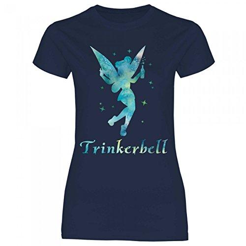 Royal Shirt a20 Damen T-Shirt Trinkerbell | Trinkerfee Fee Bell Partyshirt Sprücheshirt Girly Mädchen, Größe:M, Farbe:Navy