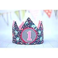 Corona cumpleaños, corona de tela reversible para cumpleaños infantil niña