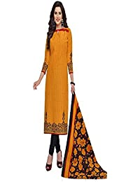 Baalar Elegance Women's Yellow Color Pure Printed Cotton Unstitched Dress Material With Cotton Dupatta