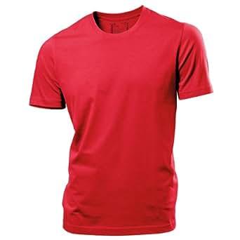 Hanes Tagless - Mens Crew Neck 155 Plain T-Shirt (XL) (Red)