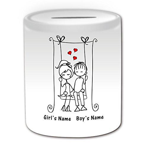 De regalo con mensaje personalizado - Hucha de estilo romántico con Swing (diseño de romance, blanco) - nombre personalizable para/de mensaje tu diseño de - pareja