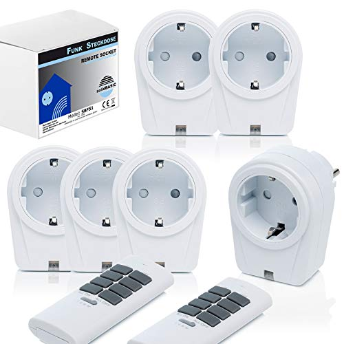 funksteckdosen outdoor solidBASIC - Funk Schalter Steckdosen Set : 6 x Funksteckdosen + 2 x Fernbedienung   4-Kanal Plug & Play Funkschalt-Set - WEIß