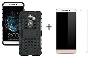 Lively Kick Stand Defender Case (Black) + Tempered Glass Screen Protector for LeEco Le Max 2