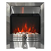 fam famgizmo 2 KW Freestanding Electric Fireplace with Brushed Stainless Steel Fire Planted LED Flame with Pebble Bed Glow Effect