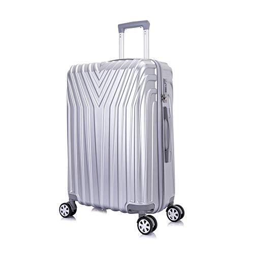 OM HOME Maleta De Viaje Mediana Equipaje De Viaje ABS+PC, Cerradura TSA Ligera Resistente Silver, 24...