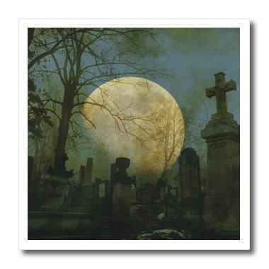 3dRose ht_44703_1 Vollmond auf einem Friedhof, gruselige Art-Halloween-Wärmeübertragung für weißes Material, 20,3 x 20,3 cm