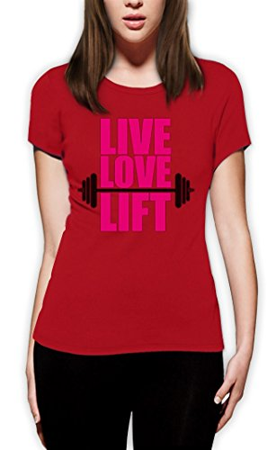 LIVE LOVE LIFT high Quality very comfortable Frauen T-Shirt Rot
