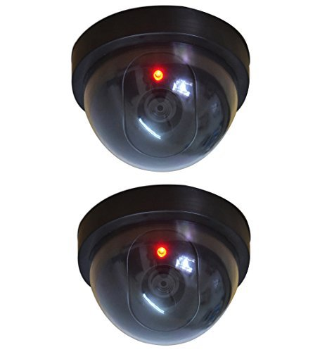 2 Pcs Dummy CCTV Dome Camera with blinking red LED light. For home or office Security