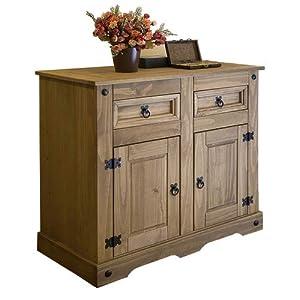 SAM Kommode Santa Fe, Mexico-Möbel, Sideboard aus Kiefernholz, Massivholz Gewachst, je Zwei Schubfächer & Türen, Wohnzimmer-Schrank