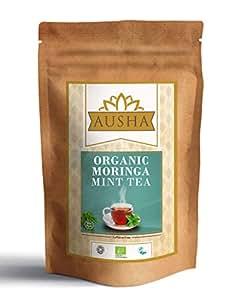 AUSHA Organic Moringa Mint Tea - 50 Tea Bags (Alkaline,Detox,Cleanse,Unbleached,Caffeine Free,Source of Calcium for Vegans,High in AntiOxidants)
