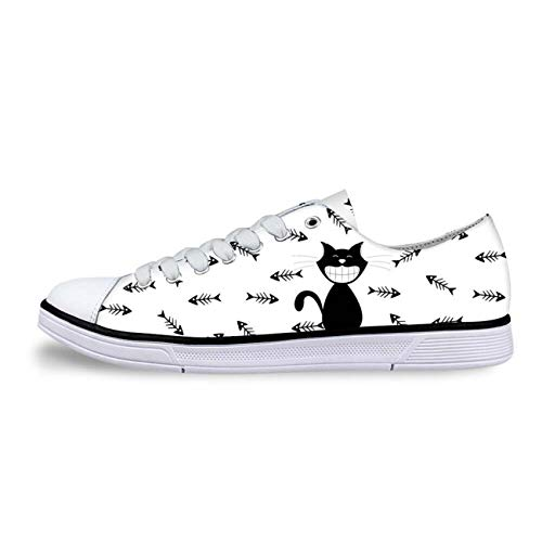 Cat Print Women Canvas Shoes Girls School Wear Lace Up Pumps Casual Plimsolls White+Fishbone UK 4 Kicker Subs