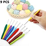 New 9PCs xed Metal Crochet Hook Template Kit TPR Alunum Knitting Needles for Loom Tool Band DIY Crafts A609