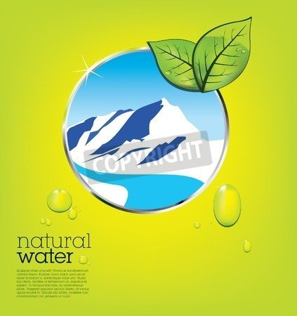 """Leinwand-Bild 110 x 100 cm: """"Natural water label with drops and leaves - layout template"""", Bild auf Leinwand"""