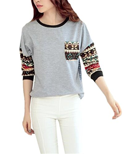 Kerlana Pull Femme Manches Longues Blouse Col Rond Sweater Imprime Tops Casual Pullover Elegant Tunika University Grey