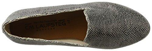 Laufsteg München - Fs170502, Mocassini Donna Silber (lizard gunmetal)