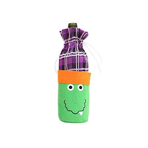 Yimosecoxiang Schöne und lustige Fisher Price Weinflaschenbeutel mit Kürbis-Gitter, für Halloween, Party, mit Kordelzug, Stoff, Witch