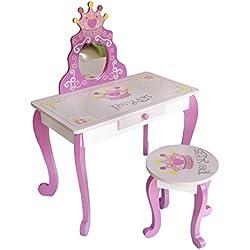 Kiddi Style - Coiffeuse et Tabouret de Princesse en Bois