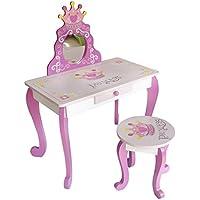 Preisvergleich für Kiddi Style Prinzessinnen Kinderschminktisch mit Spiegel und Hocker – stylischer Prinzessin Stuhl mit Schminktisch, Frisiertisch & Schreibtisch für Mädchen in Rosa