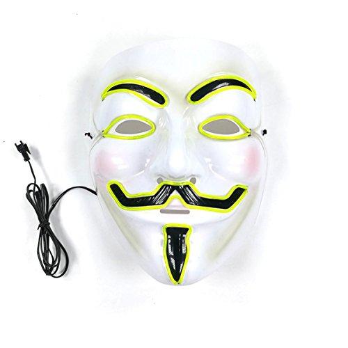Vendetta For Anonymous V Kostüm (v für vendetta - maske anonymous - maske hat guy - fawkes halloween licht unisex - maske 8 farben mit el glühenden draht)
