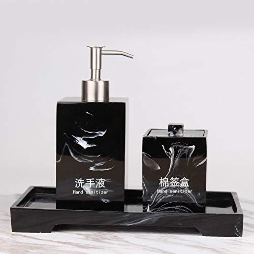 Amgend High-End Hotel Händedesinfektionsmittel Flasche Set Handcreme Bad Shampoo Dusche Gel Lotion Probe Zimmer Fach, Tinte Schwarzes Quadrat Dreiteilige (Mit Wort) -