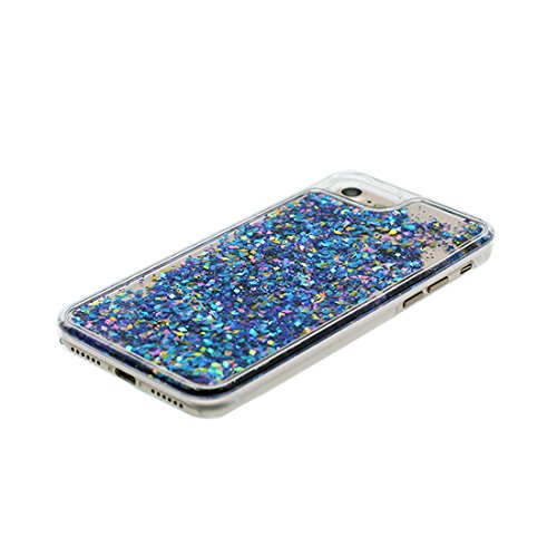 Hülle iPhone 7, [ Liquid Fließendes Glitzer Bling Bling ] iPhone 7 Handyhülle Cover (4.7 zoll), Floating sparkles, iPhone 7 Case Shell Anti-Beulen Flowing blau Weiß # 1