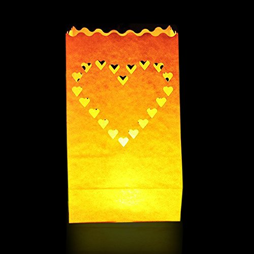 Pack 50 Linternas Decorativas Papel Blanco Diseño Corazón por Kurtzy   Decoración Centro de Mesa para Bodas y Cumpleaños  Linternas Grandes, Resistente al Fuego   Usa Velas de Té (Regular o LED)