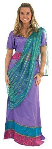 e oder Lila Bollywood asiatisch Jasmin Sari Kostüm Kleid Outfit - Lila, 8-10 (Erwachsene Jasmins Outfit)