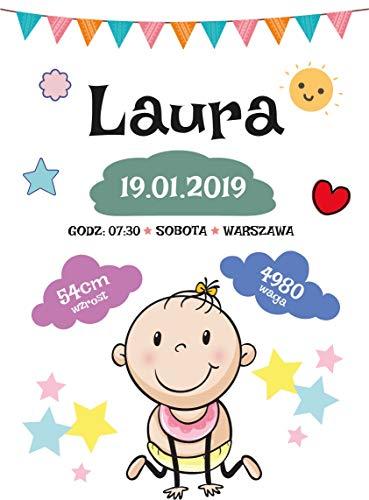 Gerahmte Baby Mädchen Geburtsurkunde Poster Plakat Wandtattoo Plakat Wohnzimmer Zuhause Dekoration Dekor Stilvoll Kunst -