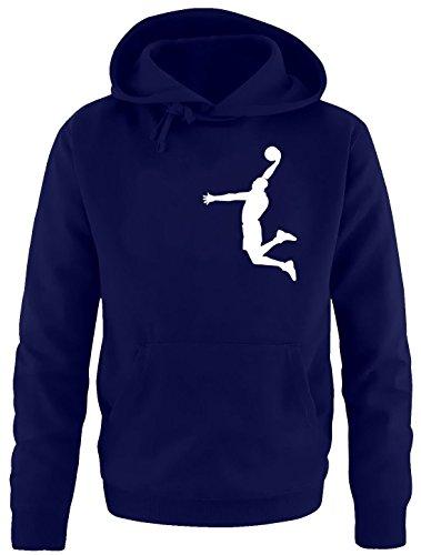 DUNK Basketball Slam Dunkin Kinder Sweatshirt mit Kapuze HOODIE navy-weiss, Gr.128cm