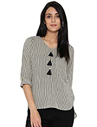 Desi Fusion Women's Stripe Printed Cotton  Top