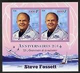 Djibouti 2014 Anniversaries - Steve Fossett imperf sheetlet two values u/m PERSONALITIES AVIATION JandRStamps (104811)