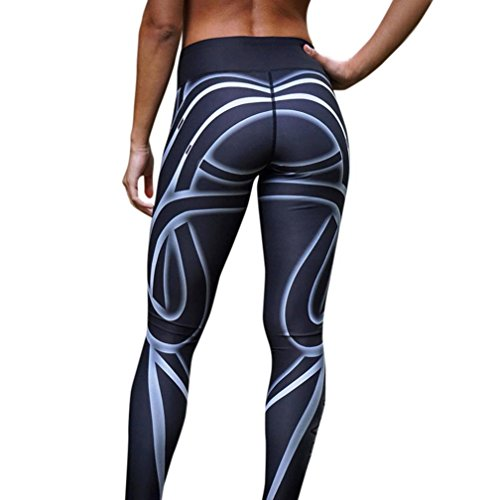 LHWY Striped Print Women Sports Gym Yoga Workout Mid-Waist Running Pants Fitness Elastic Leggings Do Exercise