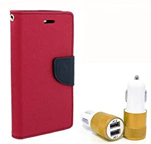 Aart Fancy Diary Card Wallet Flip Case Back Cover For Nexus 5 - (Pink) + Dual ports USB car Charger With Ultra Power Technolgy by Aart Store.
