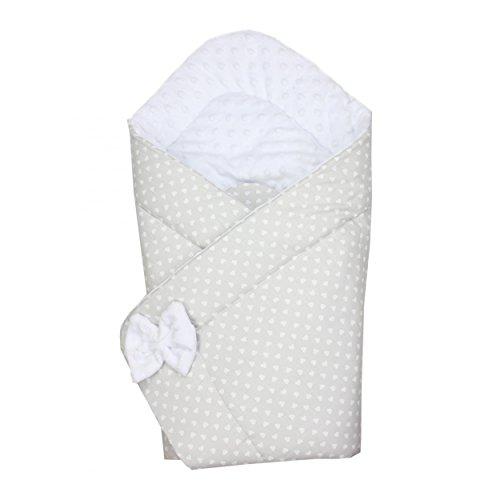 Preisvergleich Produktbild TupTam Baby Winter Einschlagdecke Warm Wattiert Minky , Farbe: Herzen Grau, Größe: ca. 75 x 75 cm