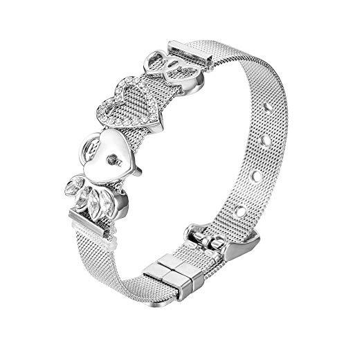 Heideman Armband Damen Mesh aus Edelstahl Silber oder Rosegold farbend poliert Armkette mit Charms Charmband für Frauen mit Swarovski Zirkonia Stein Weiss als Bracelet Crystal hb2812-3-1