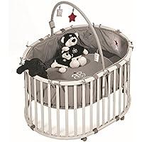 roba Laufgitter 'Rock Star Baby', Laufstall oval, sicheres Spielgitter inkl, Schutzeinlage & Rollen, Baby Krabbelgitter