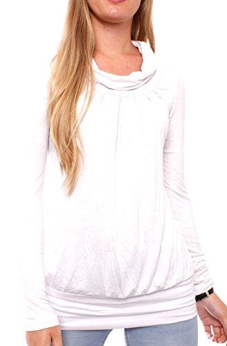 Easy Young Fashion Basic Damen Shirt Rollkragen One Size Weiß