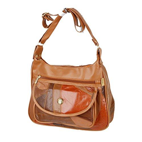 Friendz Trendz-in pelle telefono-Mobile vano patchwork PU tagliare borse della borsa (multi) tan