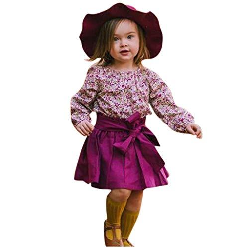 WFRAU Baby Strampler Mädchen Langarm Blumen Overalls Jumpsuit+Einfarbig Bowknot Rock Schlafanzug Säugling Spielanzug Baby-Nachtwäsche Hosen Tops Jumpsuit Outfit Bodysuit