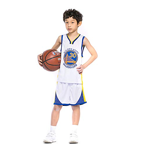 KSWX Camiseta de Baloncesto Warriors # 30 Stephen Curry Trajes De Entrenamiento De Baloncesto para Hombres Y Mujeres,White,L